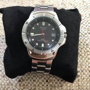 Used - PULSAR Men's SOLAR Sports Silvertone Watch